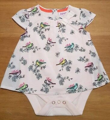 ted baker baby girl 0-3 months overlay top and vest pretty birds print.