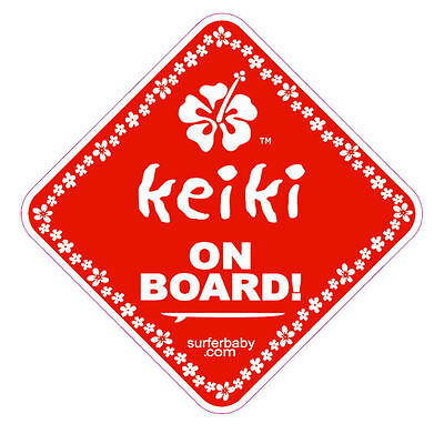 Keiki on Board Surfer Baby Car/Truck Safety Vinyl Window Sticker Sign Decal Red