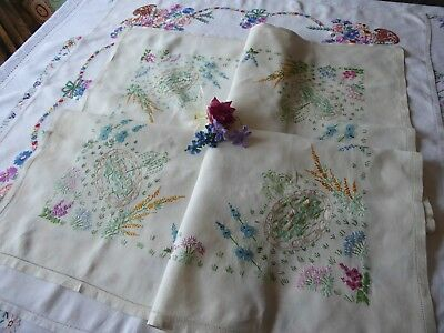 Vintage Hand Embroidered  Linen Tablecloth- Beautiful Flower Gardens