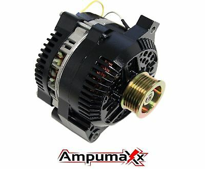 Black One Wire 250 Amp Alternator For Ford Mustang Mercury Cougar HI Amp
