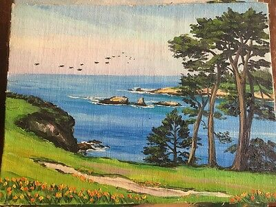 "Vtg 50's (#17) ""Pebble Beach"" Carmel, CA 9x12 Original Oil Painting Marie Ware"
