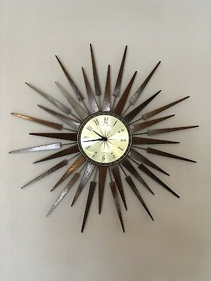 Huge Stunning Vintage Retro Seth Thomas Teak Sunburst / Starburst Wall Clock