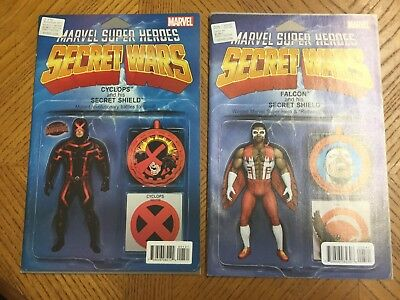 SECRET WARS #1 COMIC - CYCLOPS ACTION FIGURE VARIANT & #005 Falcon Variant Issue
