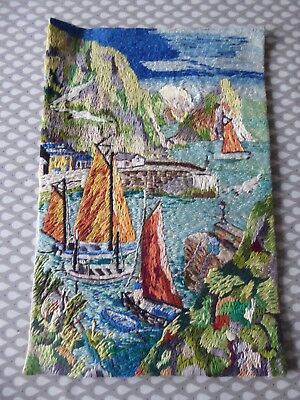 Vintage Hand Embroidered Picture - Beautiful Quayside View With Sailboats