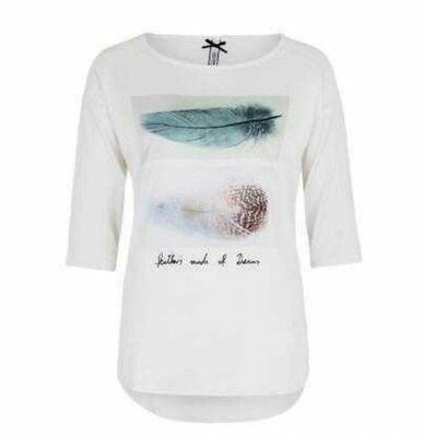 Millionx Ladies Pullover Shirt T-Shirt 2153016 Feathers White