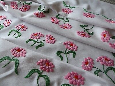 Vintage Hand Embroidered Linen Tablecloth With Plump Raised Embroidery-Large