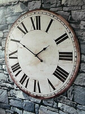 EXTRA LARGE SHABBY CHIC FRENCH VINTAGE STYLE WALL CLOCK RETRO 60cm NEW & BOXED