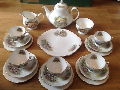 English Fine china Cottage Garden Pattern 19 piece Tea Set ( Including Teapot.