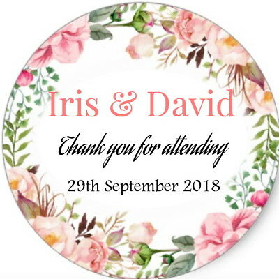 Personalised Gloss Floral Wedding Party Bag Favour Labels,thank You Stickers