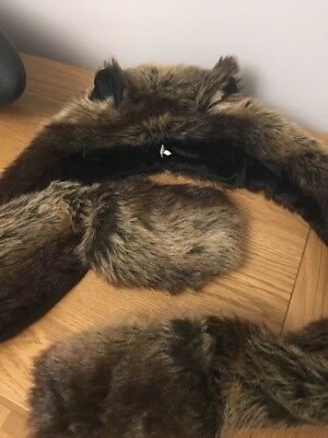 Girls Fur Hat With Mittens Size 58 Excellent Condition