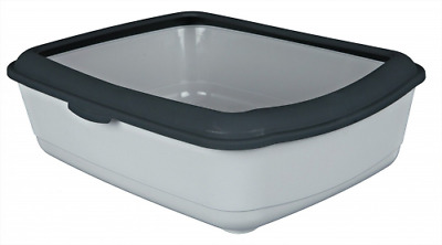 Trixie Classic Cat Litter Tray with Rim, 47 x 37 x 15 cm Light/Dark Grey