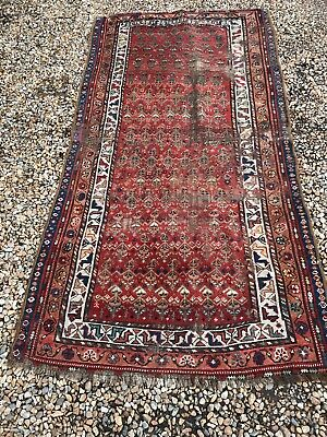 A SHABBY CHIC COUNTRY HOUSE ANTIQUE NORTH WEST PERSIAN KURDISH RUG - 99p