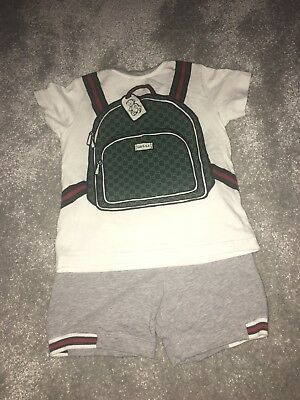 Toddler Boys Gucci Outfit Shorts T Shirt Backpack 24m