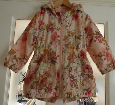 Next Girls Peach Floral Hooded Shower Proof Lined Jacket Rain Coat Age 3-4 years