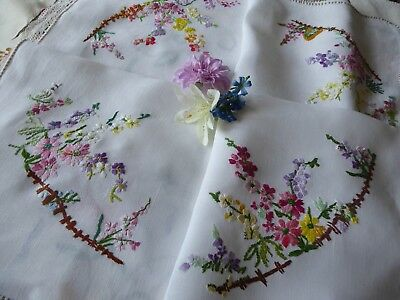 Vintage Hand Embroidered Linen Tablecloth=Beautiful Delicate Flowers