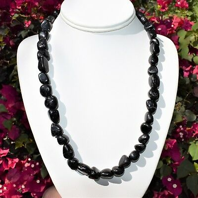 """CUSTOM MADE 21"""" CHARGED Natural Black Tourmaline Crystal Nugget Bead Necklace"""