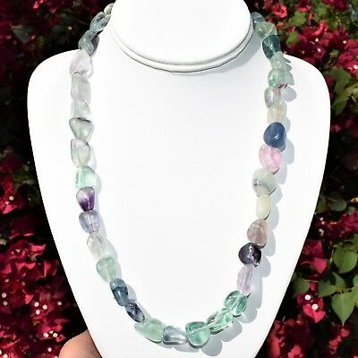 "CUSTOM MADE 21"" CHARGED Natural Rainbow Fluorite Crystal Nugget Bead Necklace"