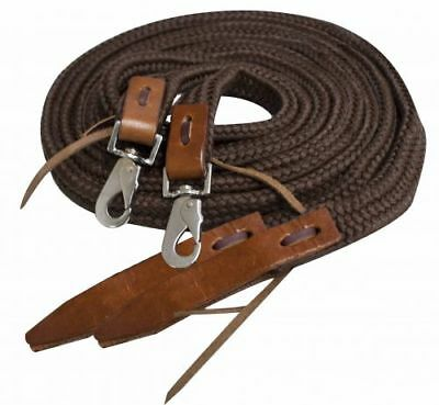 Showman BROWN 8' Flat Braided Nylon Reins w/ Leather Poppers!! NEW HORSE TACK!!