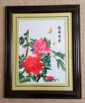 """W04B- """"The Beautiful Flower """" Chinese embroidery Painting With framed *UK STOCK*"""