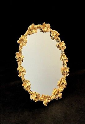 Antique Oval Mirror With Wonderful Floral Border