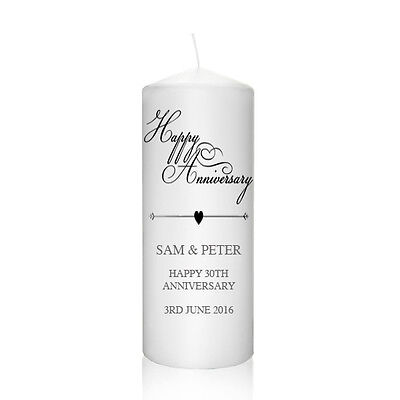 Personalised Wedding Anniversary Candle 20th 30th 40th 50th Gift Keepsake