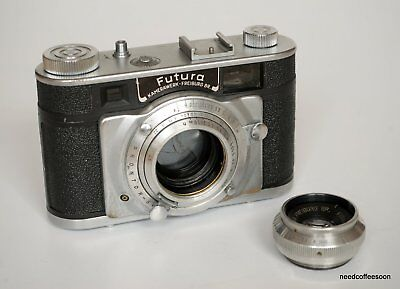 Futura-P rangefinder camera with interchangeable Futar 45/3.5 lens, serviced