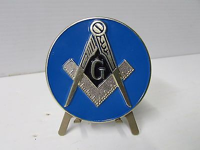 Master Mason Stick-On Car Metal Emblem - Gold w/Blue Lodge Background