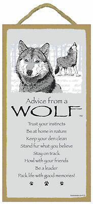 Advice from a Wolf Inspirational Wood Wild Animal Nature Sign Plaque Made in USA