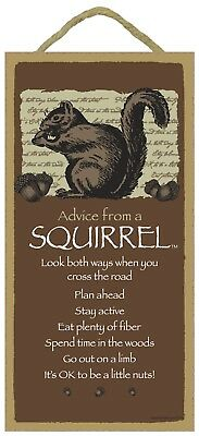 Advice from a Squirrel Inspirational Wood Animal Nature Sign Plaque Made in USA