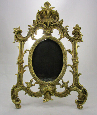 """Antique French Gilt Bronze Ornate Rococo 13.5"""" Easel Back Picture Frame"""