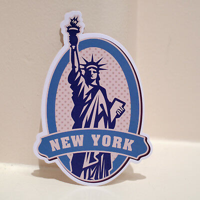 "#4630 New York USA Statue of Liberty Travel Art Luggage Label 4x3"" Decal Sticker"