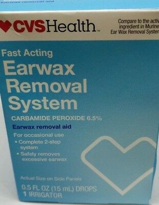 EARWAX REMOVAL Aid SYSTEM Drops + Irrigator (2) CVS Compare To MURINE  *12/18