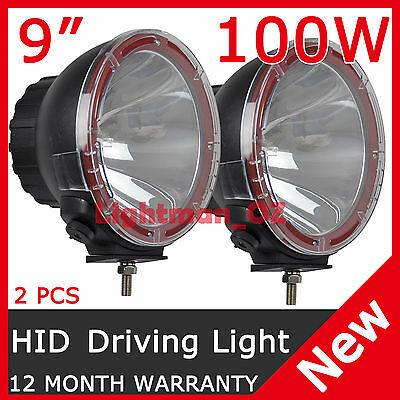 PAIR 9 INCH 100W HID XENON Driving Lights Spotlight OFFROAD Aluminum Housing HOT