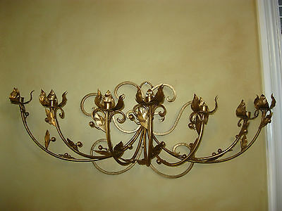 Vintage French Gold Wrought Iron WALL SCONCE Candelabra Candle Holder ChicShabby