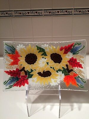Peggy Karr Rectangular Plate Tray Platter Sunflowers and Leaves, Signed '02