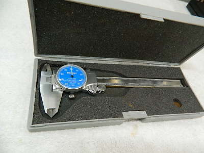 Mitutoyo 0-6 Inch Blue Face Dial Caliper 505-675-51 TiN Coated Ways w/Case NICE