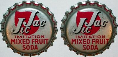 Soda pop bottle caps JIC JAC MIXED FRUIT SODA Lot of 2 cork lined new old stock