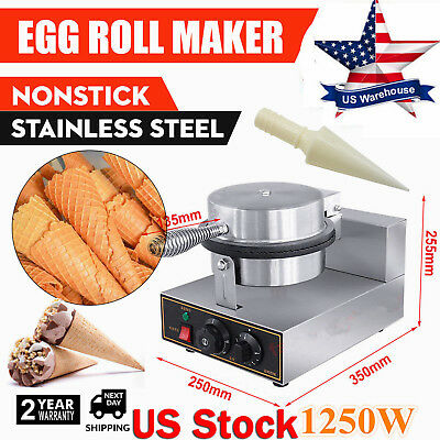Commercial 110V Electric Stainless Nonstick Ice Cream Cone Baker Maker Machine