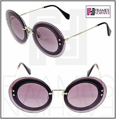 e567e5b50cc MIU MIU REVEAL 10R Silver Purple Violet Fabric Round Oversized Sunglasses  MU10RS