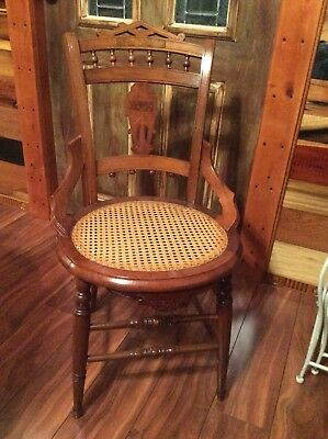 Antique Victorian Eastlake Style Cane Bottom Hip Hugger Dining Chairs Ornate 4