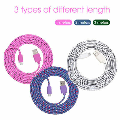 3ft-10Ft Data Sync Micro USB Cord  Nylon Braided Charger Cable for Samsung New