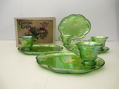 CARNIVAL GLASS 8 PC HARVEST SNACK SET INDIANA GLASS CO Iridescent Lime #2443