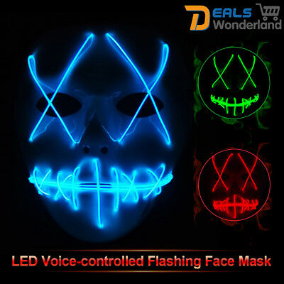 LED Voice-controlled Flashing Face Mask Scary Urban Face Mask Light Up Cosplay