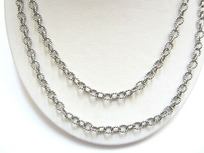 Ann King Sterling Silver Double Strand Rope Design Necklace With Toggle Clasp