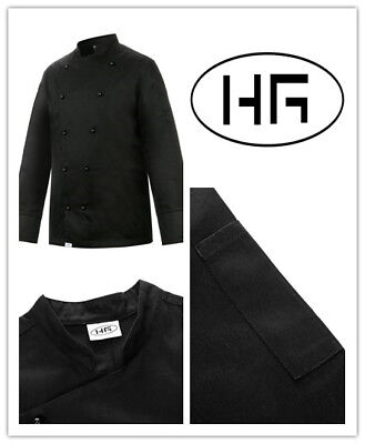 Chef Jacket Long Sleeves Classic Black Uniform Poly-cotton Hospitality Garments