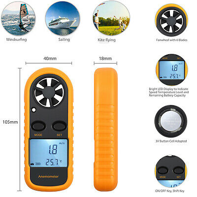 LCD Digital Handheld Anemometer Wind Speed meter thermometer Sailing CE Approved
