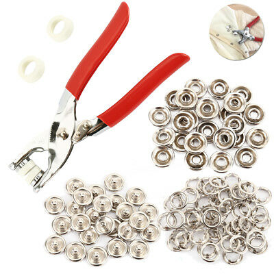 100 X Prong Pliers Ring Press Studs Snap Popper Fasteners 9.5mm DIY Tool Kit