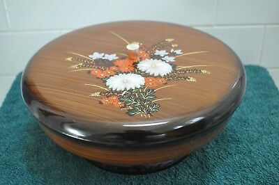 Vintage Retro 1970's Faux Lacquer Revolving Serving Tray Made In Japan
