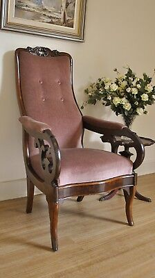 Antique Victorian Carved Cedar Upholstered Button Back Library Chair / Armchair