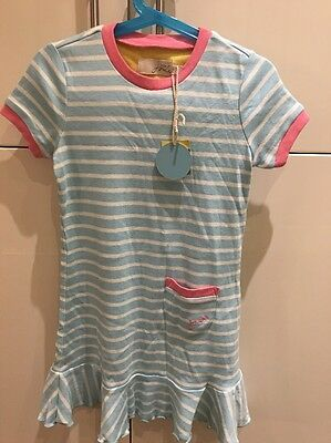 Girls Little Joules Dress Size 6 New Light Blue Stripe